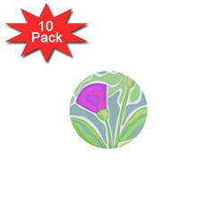 Purple flowers 1  Mini Buttons (10 pack)