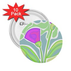 Purple flowers 2.25  Buttons (10 pack)