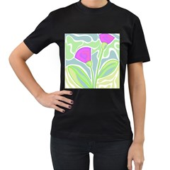 Purple flowers Women s T-Shirt (Black) (Two Sided)