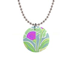 Purple flowers Button Necklaces