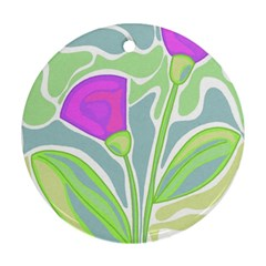Purple flowers Round Ornament (Two Sides)