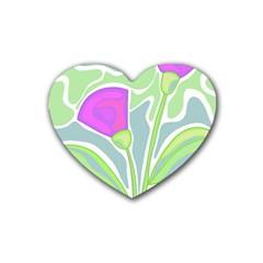 Purple flowers Rubber Coaster (Heart)