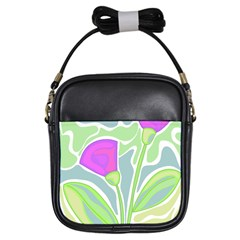 Purple flowers Girls Sling Bags
