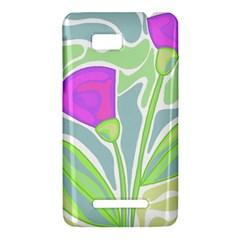 Purple flowers HTC One SU T528W Hardshell Case