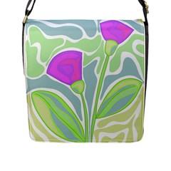 Purple flowers Flap Messenger Bag (L)