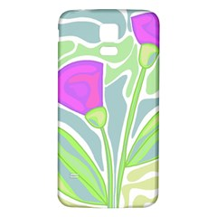 Purple flowers Samsung Galaxy S5 Back Case (White)