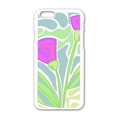 Purple flowers Apple iPhone 6/6S White Enamel Case