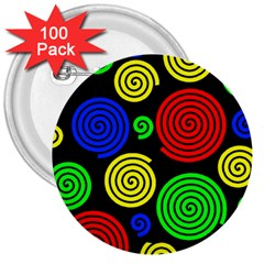 Colorful hypnoses 3  Buttons (100 pack)