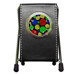 Colorful hypnoses Pen Holder Desk Clocks