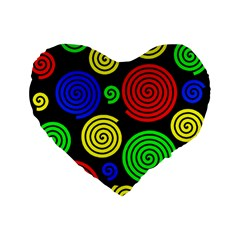 Colorful hypnoses Standard 16  Premium Flano Heart Shape Cushions