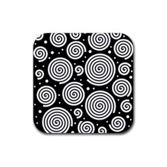 Black and white hypnoses Rubber Square Coaster (4 pack)