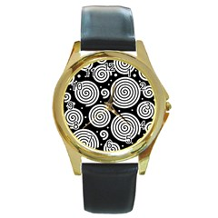 Black and white hypnoses Round Gold Metal Watch