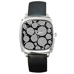 Black and white hypnoses Square Metal Watch