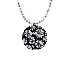 Black and white hypnoses Button Necklaces
