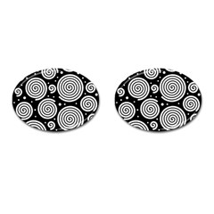 Black and white hypnoses Cufflinks (Oval)