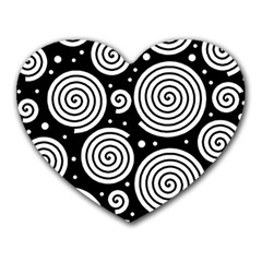 Black and white hypnoses Heart Mousepads