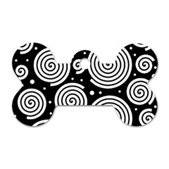 Black and white hypnoses Dog Tag Bone (One Side)