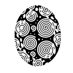 Black and white hypnoses Oval Filigree Ornament (2-Side)
