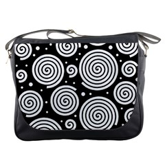 Black and white hypnoses Messenger Bags