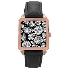 Black and white hypnoses Rose Gold Leather Watch