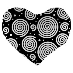 Black and white hypnoses Large 19  Premium Flano Heart Shape Cushions