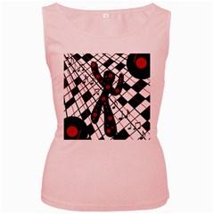 On the dance floor  Women s Pink Tank Top