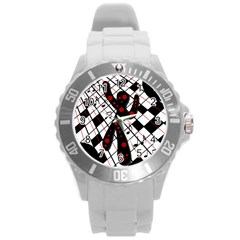 On the dance floor  Round Plastic Sport Watch (L)