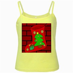 Christmas sock Yellow Spaghetti Tank