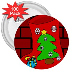 Christmas sock 3  Buttons (100 pack)