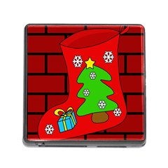 Christmas sock Memory Card Reader (Square)