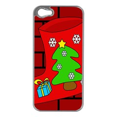 Christmas sock Apple iPhone 5 Case (Silver)