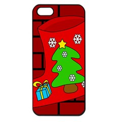 Christmas sock Apple iPhone 5 Seamless Case (Black)