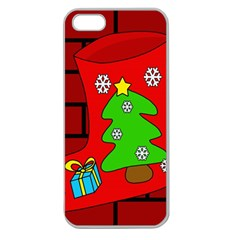 Christmas sock Apple Seamless iPhone 5 Case (Clear)