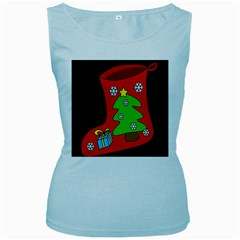 Christmas sock Women s Baby Blue Tank Top