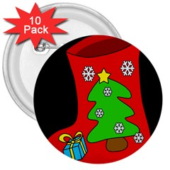 Christmas sock 3  Buttons (10 pack)