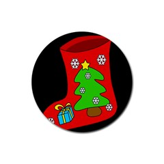 Christmas sock Rubber Round Coaster (4 pack)