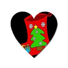 Christmas sock Heart Magnet