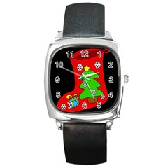 Christmas sock Square Metal Watch