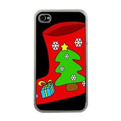 Christmas sock Apple iPhone 4 Case (Clear)