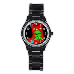 Christmas sock Stainless Steel Round Watch