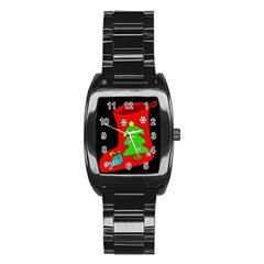 Christmas sock Stainless Steel Barrel Watch