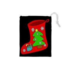 Christmas sock Drawstring Pouches (Small)