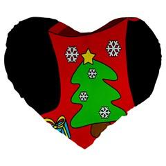 Christmas sock Large 19  Premium Flano Heart Shape Cushions