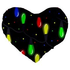 Christmas light Large 19  Premium Heart Shape Cushions