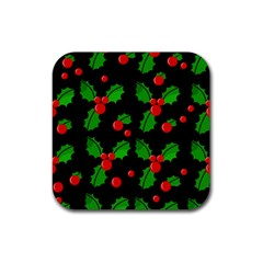 Christmas berries pattern  Rubber Square Coaster (4 pack)