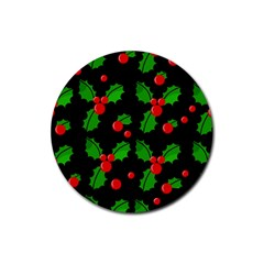 Christmas berries pattern  Rubber Round Coaster (4 pack)