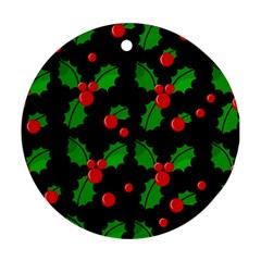 Christmas berries pattern  Round Ornament (Two Sides)