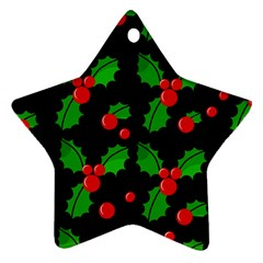 Christmas berries pattern  Star Ornament (Two Sides)