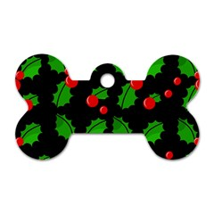 Christmas berries pattern  Dog Tag Bone (One Side)