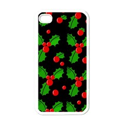 Christmas berries pattern  Apple iPhone 4 Case (White)